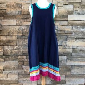Anthropologie navy blue crochet dress